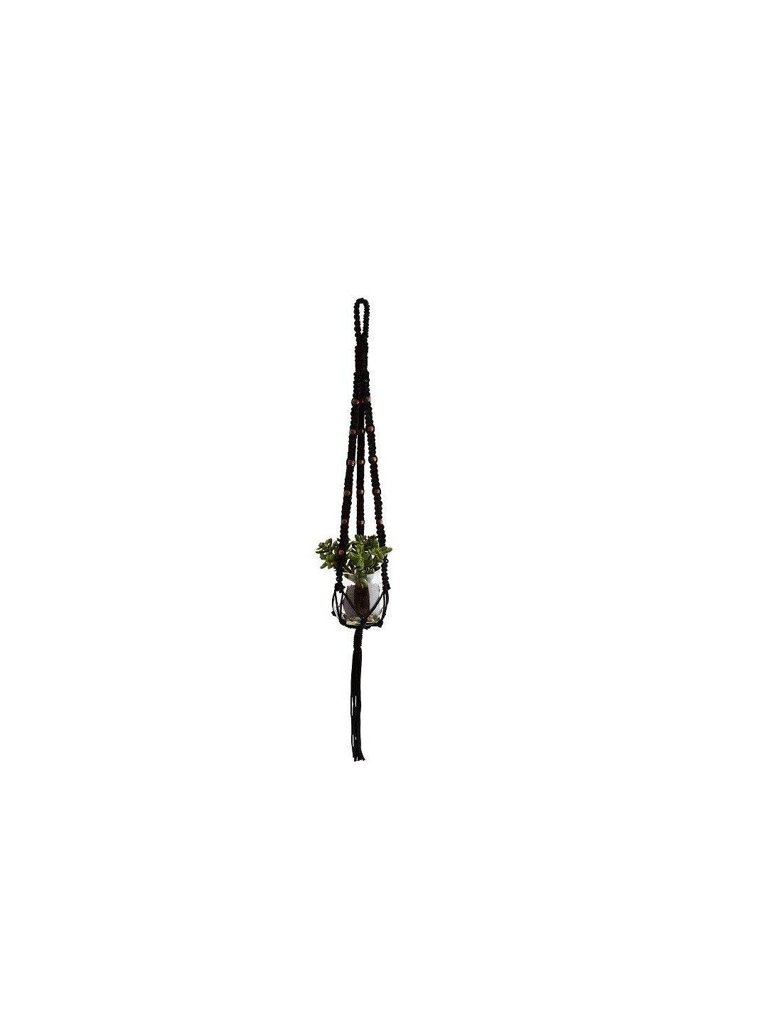 Porte plante en macram noir et perles de bois - Porte plante macrame ...